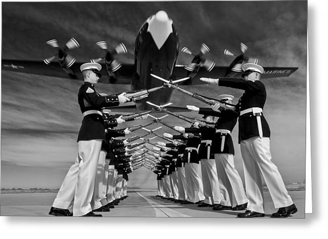 Usmc Greeting Cards - Over the Marine Corps Silent Drill Platoon Greeting Card by Mountain Dreams