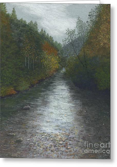 Creek Pastels Greeting Cards - Overcast Creek Greeting Card by Ginny Neece