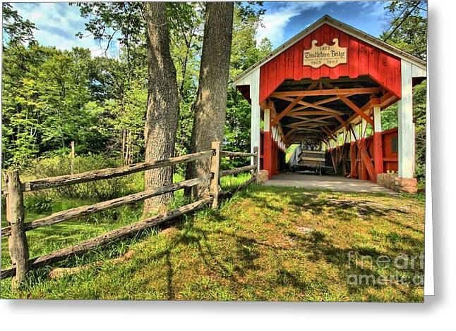 Covered Bridge Greeting Cards - Overgrown Greeting Card by Adam Jewell