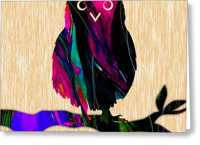 Owls Greeting Cards - Owl Painting Greeting Card by Marvin Blaine