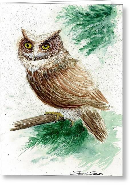Award Winning Art Greeting Cards - Owl Study Greeting Card by Steven Schultz