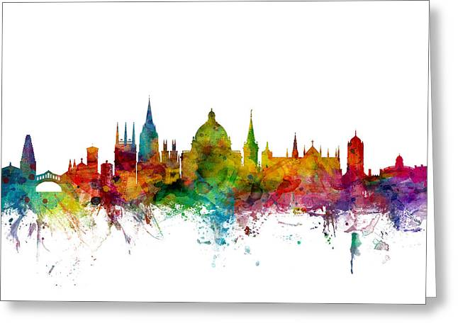 Britain Greeting Cards - Oxford England Skyline Greeting Card by Michael Tompsett