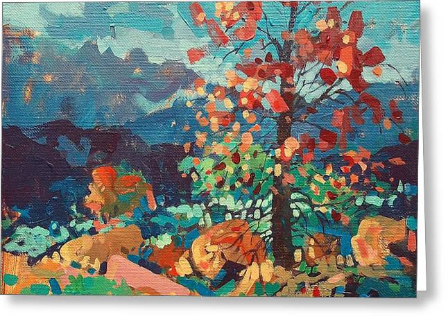 Arkansas Paintings Greeting Cards - Ozark Autumn Greeting Card by Micheal Jones