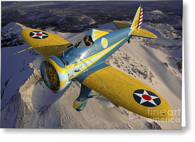 U.s. Army Air Corps Greeting Cards - P-26 Pea Shooter Flying Over Chino Greeting Card by Phil Wallick