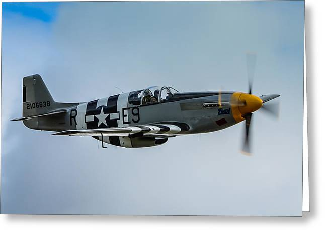 Heritage Foundation Greeting Cards - P 51 Mustang Fighter Plane  Greeting Card by Puget  Exposure