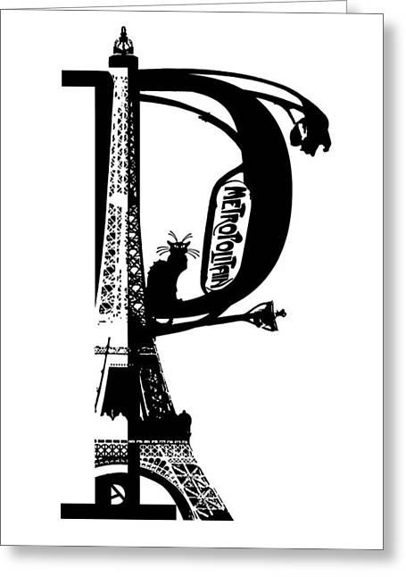 Paris Black Cats Greeting Cards - P like Paris Greeting Card by Artur Dabrowski