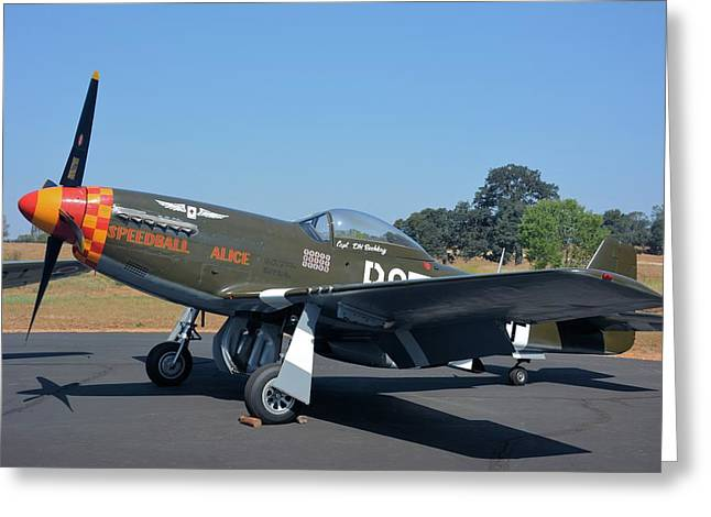 Speedball Greeting Cards - P51 Mustang Speedball Alice Greeting Card by Classic Visions