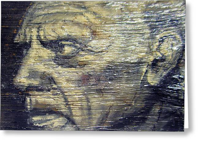 Face Reliefs Greeting Cards - Pablo Picasso Face Portrait - Painting On The Wood Greeting Card by Nenad  Cerovic