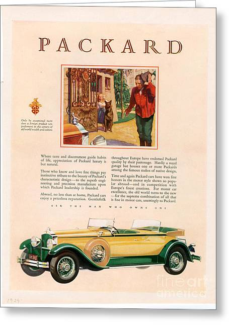 Packard 1928 1920s Usa Cc Cars Greeting Card by The Advertising Archives