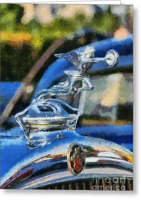 Vintage Hood Ornament Paintings Greeting Cards - 1929 Packard 626 Greeting Card by George Atsametakis