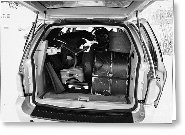 Unpack Greeting Cards - packing musicians equipment into mpv vehicle in Regina Saskatchewan Canada Greeting Card by Joe Fox
