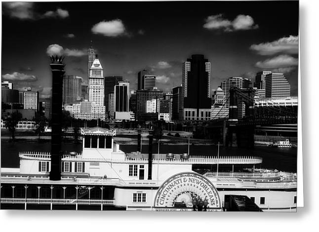 Steamboat Greeting Cards - Paddleboat and Cincinnati Skyline Greeting Card by Mountain Dreams