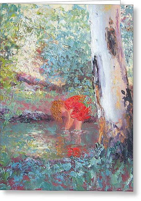 Reflections In River Greeting Cards - Paddling in the creek Greeting Card by Jan Matson