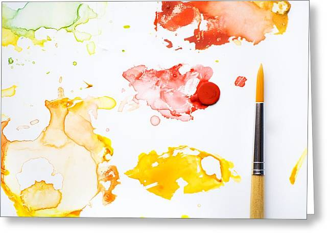 Brushes Greeting Cards - Paint Splatters And Paint Brush Greeting Card by Chris Knorr