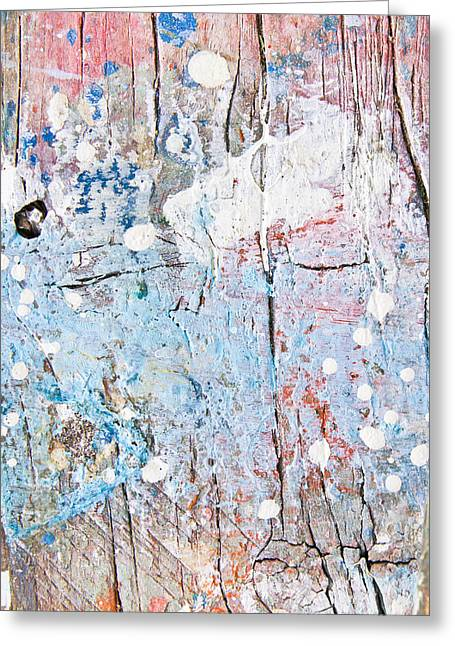 Painted Wood Greeting Cards - Paint stains Greeting Card by Tom Gowanlock