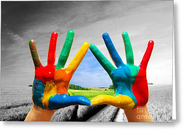 New Ways Greeting Cards - Painted colorful hands showing way to colorful happy life Greeting Card by Michal Bednarek