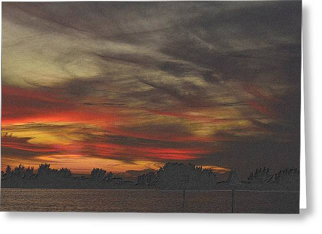 Sunset Framed Prints Drawings Greeting Cards - Painted Sky Greeting Card by Richard Zentner