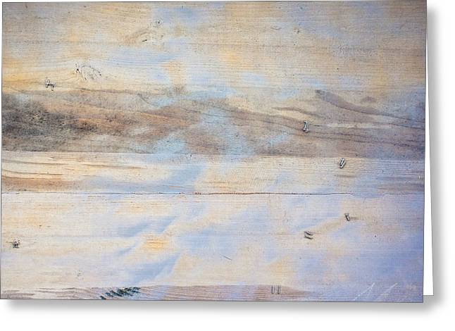 Beige Abstract Greeting Cards - Painted wood Greeting Card by Tom Gowanlock