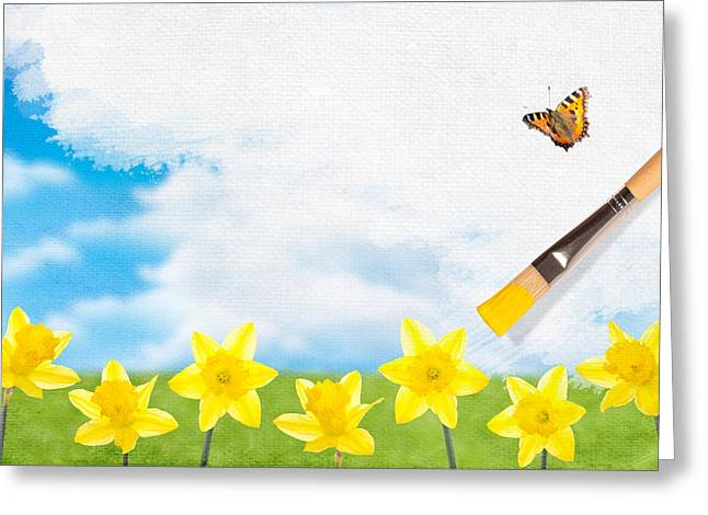 Border Photographs Greeting Cards - Painting Daffodils Greeting Card by Amanda And Christopher Elwell