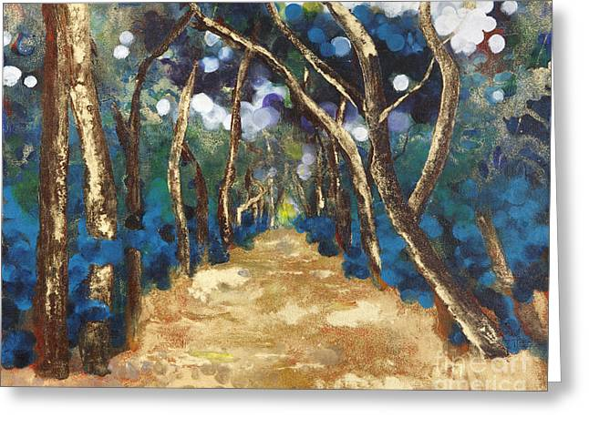 Painted Image Greeting Cards - Painting of a path between the trees Greeting Card by Tara Thelen