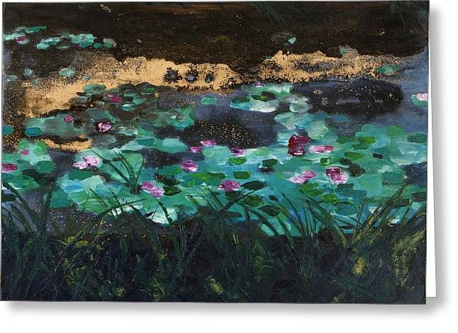 Painted Image Greeting Cards - Painting of a pond with lily pads and water lilies Greeting Card by Tara Thelen