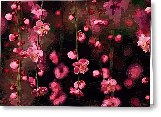 Printables Greeting Cards - Paintings With Flowers Greeting Card by Victor Gladkiy