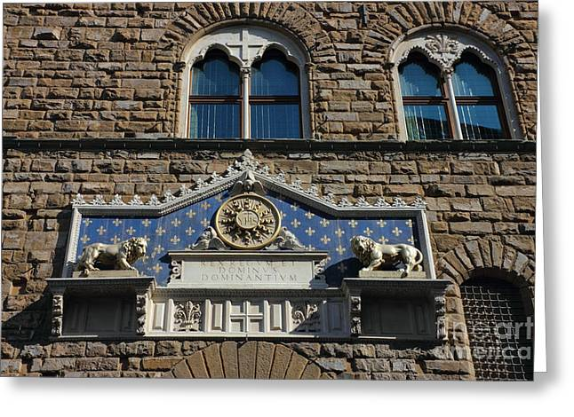 Uffizi Greeting Cards - Palazzo Vecchio in Florence Greeting Card by Kiril Stanchev