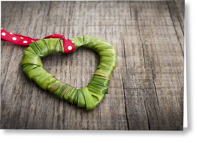 Engage Greeting Cards - Palm Leaf heart Greeting Card by Aged Pixel
