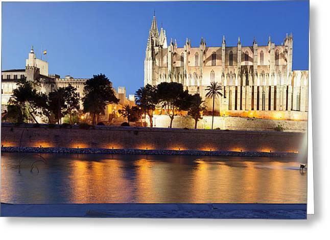 Seu Greeting Cards - Palma Cathedral La Seu And Almudaina Greeting Card by Panoramic Images