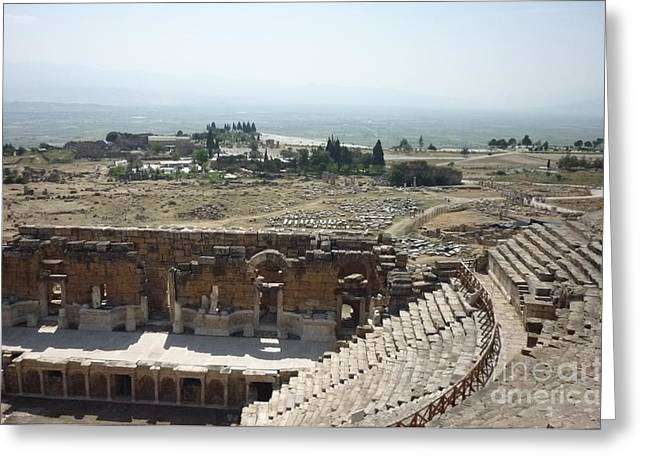 Theater Greeting Cards - Pamukkale theater Greeting Card by Ted Pollard