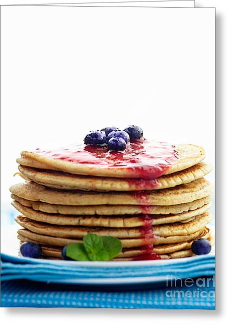 American Food Greeting Cards - Pancakes with jam Greeting Card by Mythja  Photography