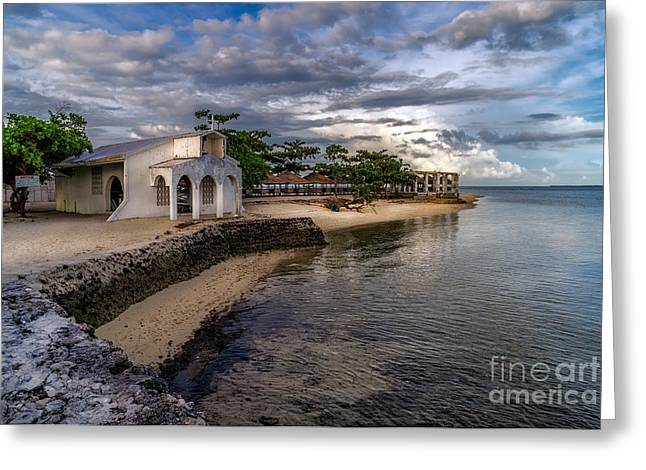 Crucifix Digital Art Greeting Cards - Pandanon Island Chapel Greeting Card by Adrian Evans