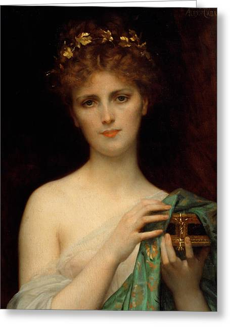 Seductress Greeting Cards - Pandora Greeting Card by Alexandre Cabanel