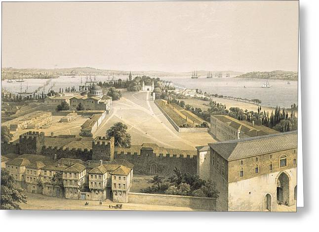 Istanbul Greeting Cards - Panorama Of Constantinople, Plate 22 Greeting Card by Gaspard Fossati