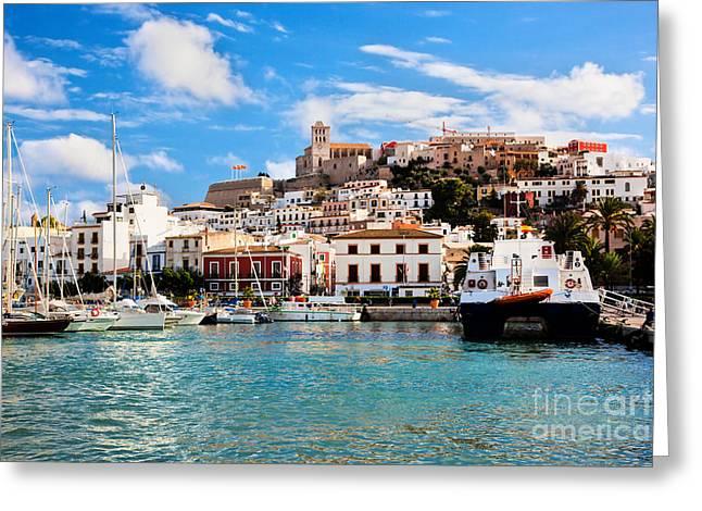 Ibiza Greeting Cards - Panorama of Ibiza Spain Greeting Card by Michal Bednarek