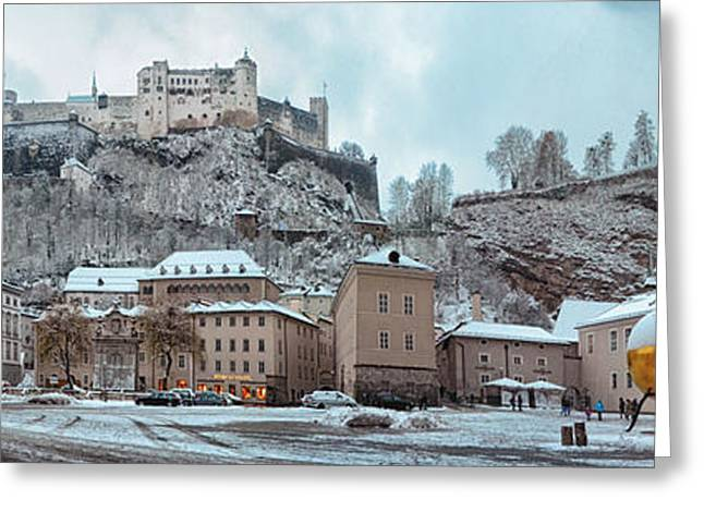 Recreation Building Greeting Cards - Panorama of Salzburg in the Winter Greeting Card by Sabine Jacobs