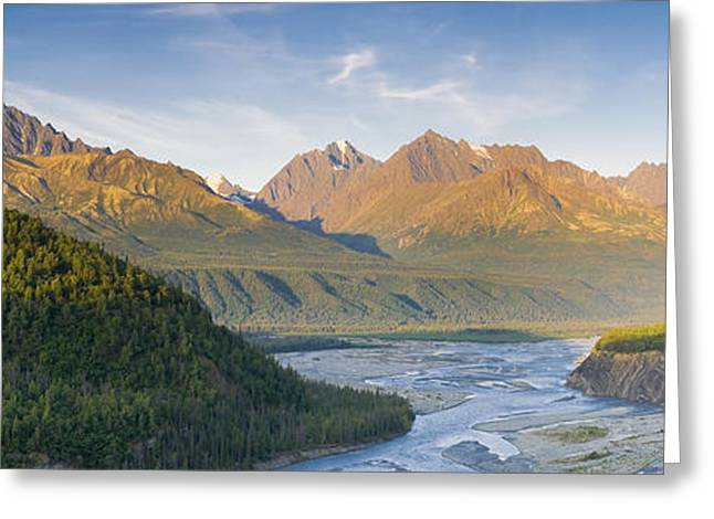 Matanuska Greeting Cards - Panorama View Of The Matanuska River Greeting Card by Michael DeYoung