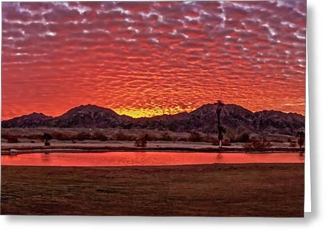 Haybale Greeting Cards - Panoramic Sunrise Greeting Card by Robert Bales