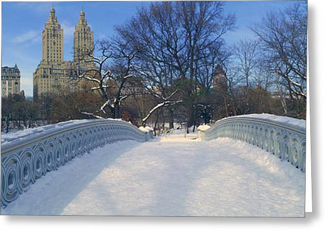 Park Scene Greeting Cards - Panoramic View Of Bridge Over Frozen Greeting Card by Panoramic Images