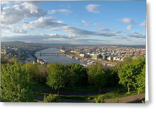 Outlook Pyrography Greeting Cards - Panoramic view of Budapest Greeting Card by Oliver Sved