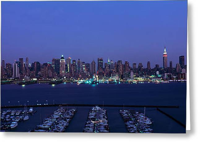 Night Shots Greeting Cards - Panoramic View Of Empire State Building Greeting Card by Panoramic Images
