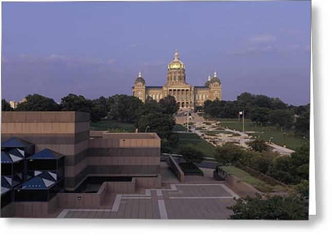 Capitol Building Greeting Cards - Panoramic View Of Iowa State Capitol Greeting Card by Panoramic Images