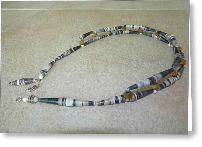 Wood Necklace Jewelry Greeting Cards - Paper beads necklace Greeting Card by Vivian Kwee