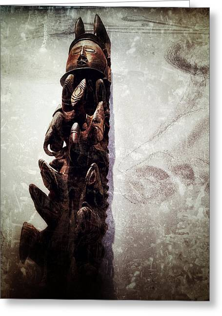 Wood Carving Greeting Cards - Papua New Guinea Ancestral Figure Greeting Card by Natasha Marco