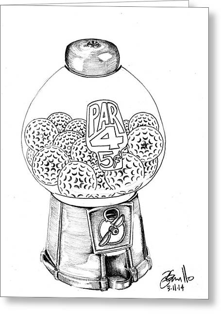 Bubble Gum Gumballs Gumball Machine Greeting Cards - Par 4 Greeting Card by Andooga Design