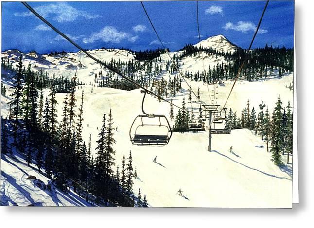 Ski Lift Greeting Cards - Paradise Bowl Greeting Card by Barbara Jewell