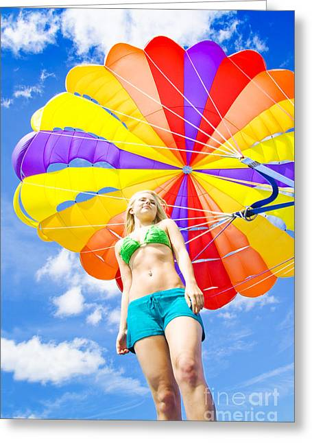 Floating Girl Greeting Cards - Parasailing On Summer Vacation Greeting Card by Ryan Jorgensen