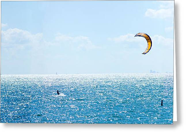 Extreme Sport Greeting Cards - Parasailing Over The Atlantic Ocean Greeting Card by Panoramic Images