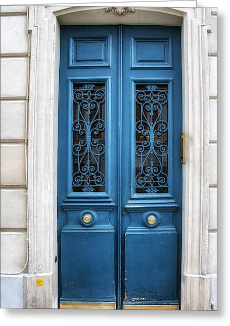 French Doors Greeting Cards - Paris Blue Greeting Card by Georgia Fowler