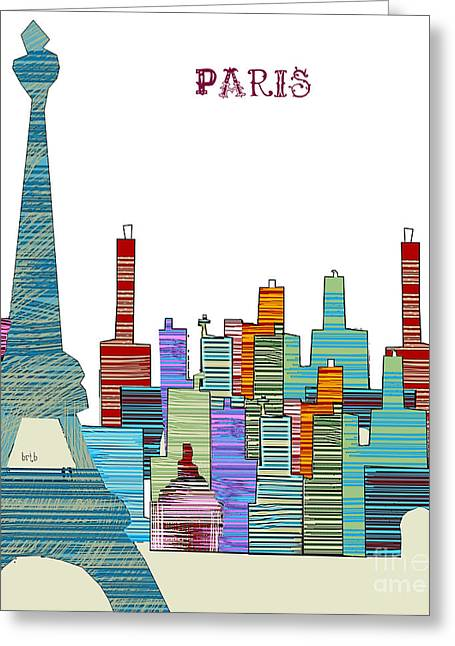 Eiffel Tower Mixed Media Greeting Cards - Paris Greeting Card by Bri Buckley